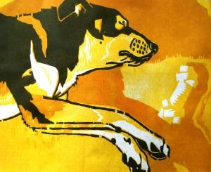 Dream Bone, woodcut reduction print, 2011.