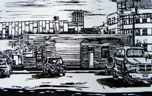 Sunny Day Downtown, woodcut print, 2011.